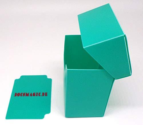docsmagic.de Deck Box Full + 60 Double Mat Mint Sleeves Small Size - Caja & Fundas Aqua - YGO