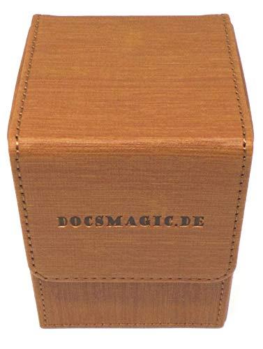 docsmagic.de Premium Magnetic Flip Box (100) Gold + Deck Divider - MTG - PKM - YGO - Caja Oro