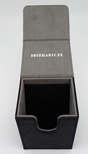 docsmagic.de Premium Magnetic Flip Box (80) Black + Deck Divider - MTG PKM YGO - Caja Negra