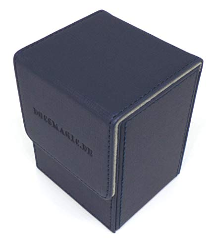 docsmagic.de Premium Magnetic Flip Box (80) Dark Blue + Deck Divider - MTG PKM YGO - Caja Azul Oscuro