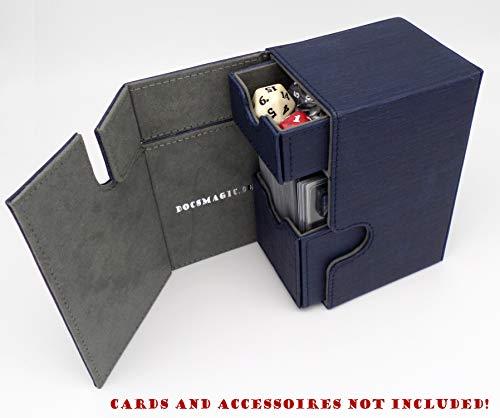 docsmagic.de Premium Magnetic Tray Box (100) Blue + Deck Divider - MTG - PKM - YGO - Caja Azul