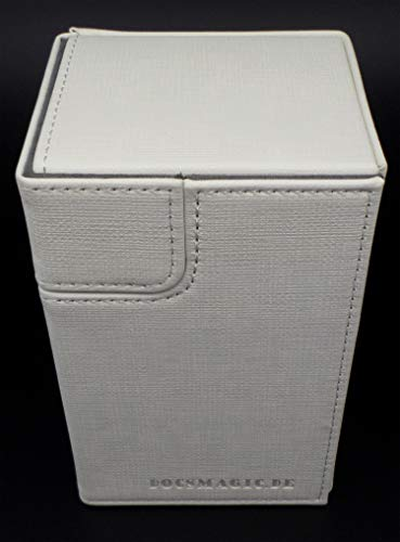 docsmagic.de Premium Magnetic Tray Box (100) White + Deck Divider - MTG - PKM - YGO - Caja Blanco