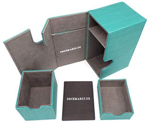 docsmagic.de Premium Magnetic Tray Box (80) Mint + Deck Divider - MTG - PKM - YGO - Caja Aqua