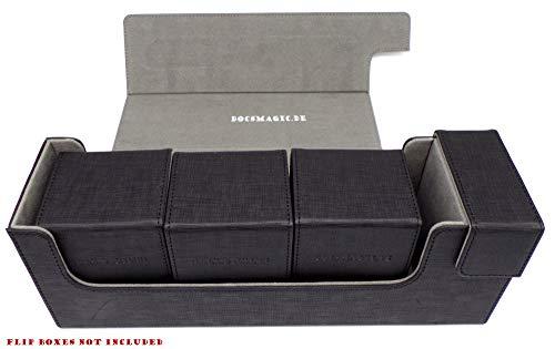 docsmagic.de Premium Magnetic Tray Long Box Black Medium - Card Deck Storage - Caja Juegos Des Cartas Negra