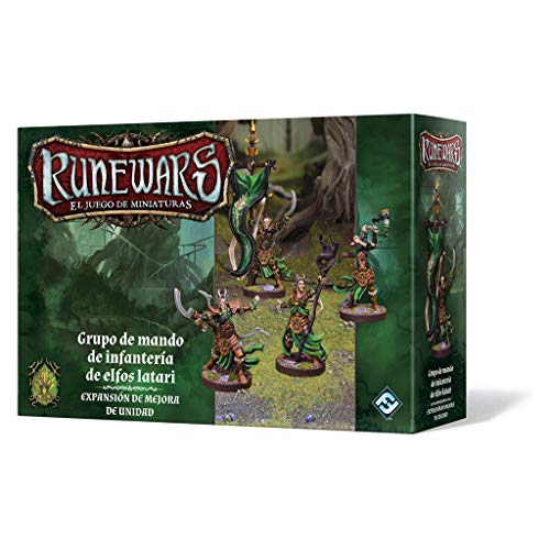 Fantasy Flight Games- Rune Wars: Grupo de Mando de infantería de Elfos latari - Español, Color (FFRWM15)