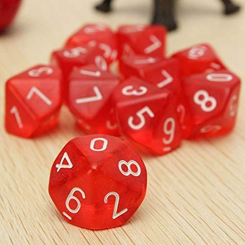 Febbya Dados Poliédricos,D10 Dados de Juego de Colores Dobles para DND MTG RPG Dungeons y Dragons Pathfinder Role Playing Dice Rojo