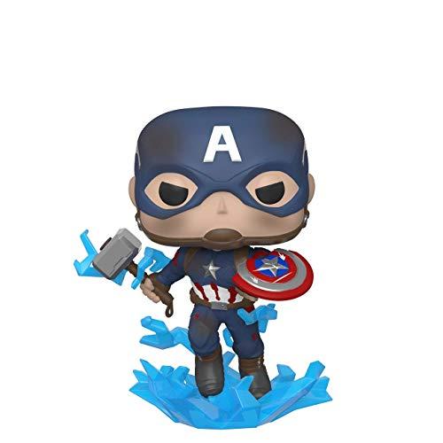Funko- Pop Marvel: Endgame-Captain America w/BrokenShield & Mjolnir Capt A w/BrokenShield&Mjolnir Colctib Toy, Multicolor, Talla Única (45137)
