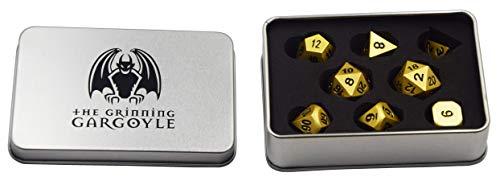 Gargoyle Sonriente WCN-3001 - Juego de Dados de Metal - Polyhedral Oro Perlado x8 - Caja de Regalo DND RPG - Incluye Dos Dados de 20 Caras - Juego de rol (Oro)