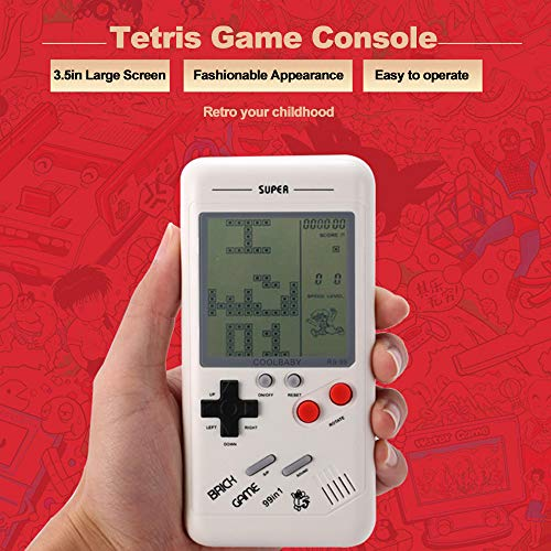 Goolsky RS-99 Consola de Juegos clásicos Juego de Bloques Tetris Juego de Rompecabezas Juegos de Mano Máquina de Juegos de Mano para niños Incorporados 26 Tipos de Juegos