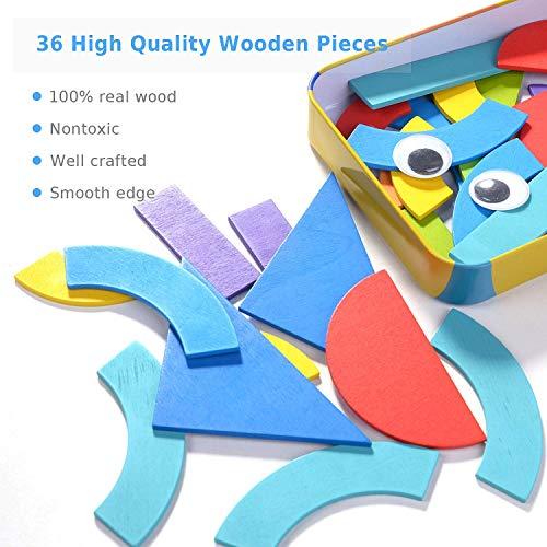 HellDoler Tangram Madera,Bloques de Madera Montessori Juguetes 36 Montessori Forma Geométrica Bloques de Patrones y 50 Piezas Tarjetas de Diseño