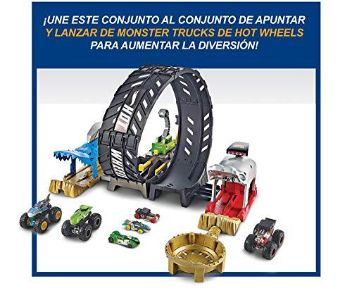 Hot Wheels Monster Trucks pista de coches de juguete con mega loop, incluye dos coches (Mattel GKY00)