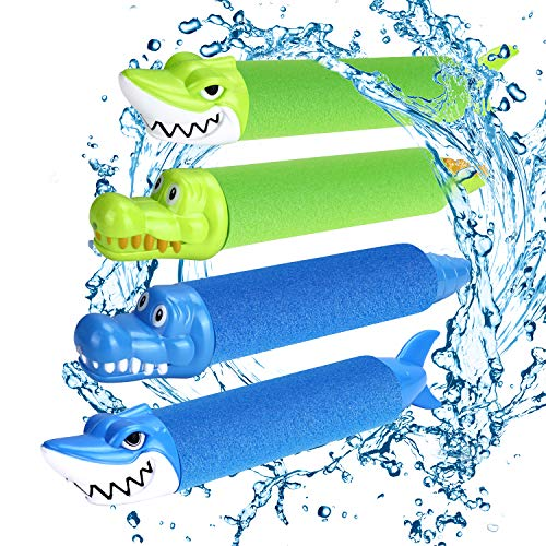 joylink Pistolas de Agua, Pistola de Agua de Espuma EVA Pistola de Espuma de Agua Tirador Juguete Infantil para Batalla de Agua, Playa, Piscina(4pcs) (Dos Colores)