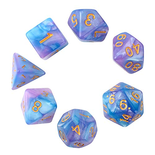 Juego de dados Pearl Polyhedral Juegos de mesa Dice Die Series D20 Dice Dados DND, D12, D10, D8, D6, D4 dnd dados DND RPG MTG Colores dobles dentro de una pieza para juegos de mesa (7 piezas)