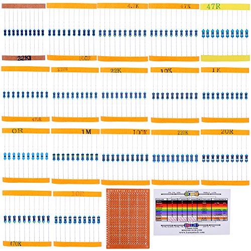 Juego de Resistencias Surtido de 17 Valores kuman, 0 Ohm-1M Ohm (Paquete de 525) con Soldadura Terminado 5x7cm PCB Placa de Circuito Placa de Mando para Arduino Rasbperry PI K78