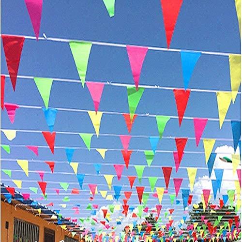 JZK 80 Metros Bunting Partido Colores triángulo Banner Bandera Cuerda Colgando decoración para Boda cumpleaños celebracion Fiesta Bienvenida Navidad víspera Escuela jardín Accesorios Decoraciones