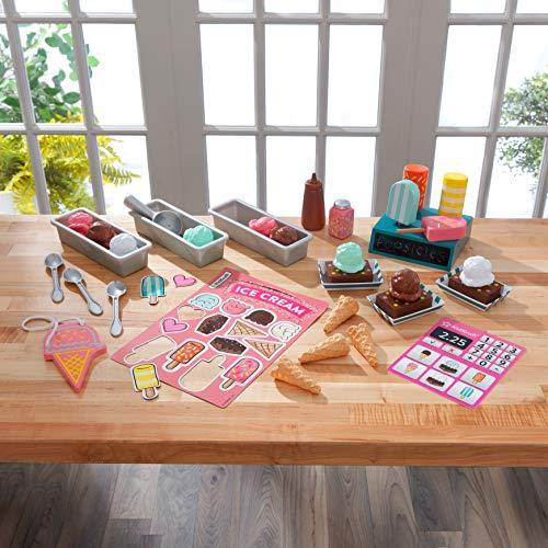 KidKraft- Kit de juguetes para tienda de helados con juguetes de madera con forma de helados (incluye más de 20 unidades) (53539)