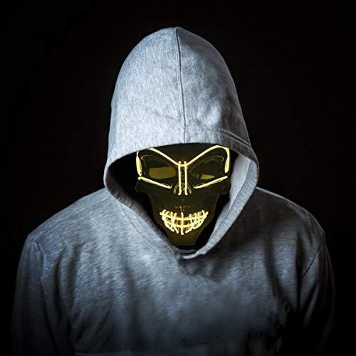 KiraKira Máscara LED Halloween, Halloween LED Máscaras Adultos LED Mask para la Fiesta de Disfraces, Máscara Disfraz Luminosa Craneo Esqueleto (red01)