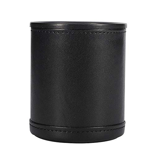 kitchen-dream Juego de Vasos de Cuero con Forro de Fieltro Rojo Coctelera Tranquila con 5 Dados de Puntos para Juegos (Negro)