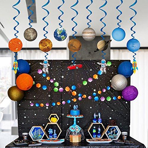 Konsait Sistema Solar decoración Colgante remolinos (14Pack), Adornos de espirales serpentinas para Infantiles Niños Bebés Habitación Techo cumpleaños Fiesta decoración Suministros