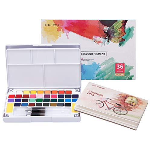 LAOYE - Set de Acuarelas de 36 Colores de Agua, Incluye 36 Acuarelas, 12 Papeles de Acuarela, 2 Pinceles de Agua y 1 Esponja para Principiantes y Profesionales