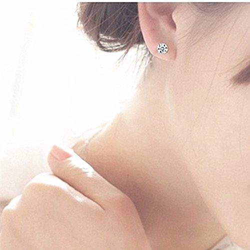 LDUDU® Pendiente Plata de ley 925 Semental Unisex de Cristal Swaroski/ Circonita diseño sencillo para hombre mujer regalo de Cumpleaños Navidad San Valentin color blanco
