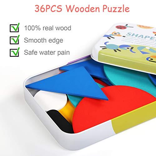 LEADSTAR Rompecabezas de Madera Bloques de Madera, Tangram Puzzle Tangram Madera Shape Puzzle Set 36 Montessori Forma Geométrica Bloques de Patrones + 60 Piezas Tarjetas de diseño (Blanco)