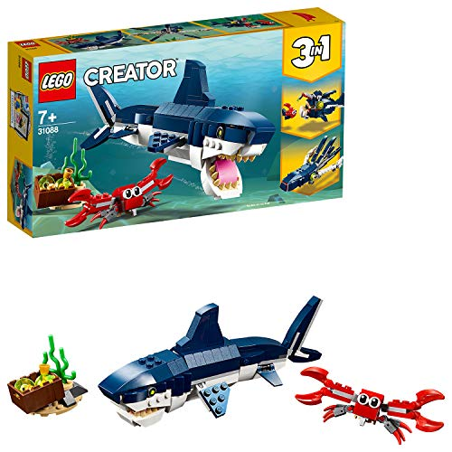 LEGO Creator - Criaturas del Fondo Marino, tiburón de juguete y animales marínos para construir (31088) , color/modelo surtido