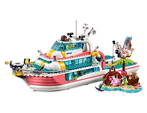 LEGO Friends - Barco de Rescate Nuevo juguete de construcción de Aventuras Acuáticas, incluye Tres Personajes y Varios Animales Marinos (41381)