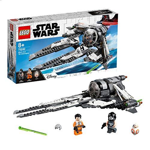 LEGO Star Wars - Interceptor TIE Black Ace, juguete de construcción de Nave Espacial de La Guerra de las Galaxias, Incluye Minifiguras de Griff, Poe y BB-8 (75242)