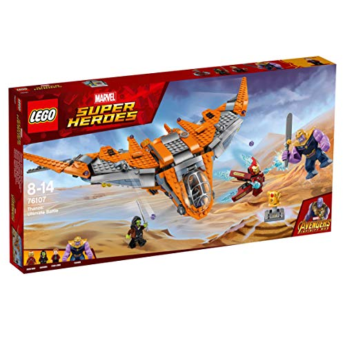 LEGO Super Heroes Thanos: Batalla definitiva, construcción con Nave de Juguete de los Vengadores, Incluye Minifiguras de Iron-Man, Gamora y Star-Lord (76107)