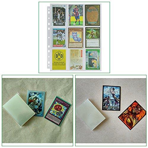 Lictin 50Pcs Juego de Fundas para Cartas Almacenamiento Colección paginas del Album Collection 50 Páginas(450 cuadrícula para Cartas),Género Neutro,Transparente