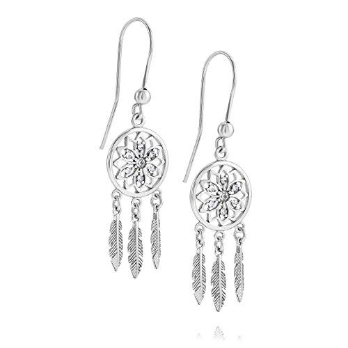 LillyMarie Pendientes de plata de ley 925 con elementos de Swarovski para mujer, diseño de atrapasueños, estuche de regalo para novia
