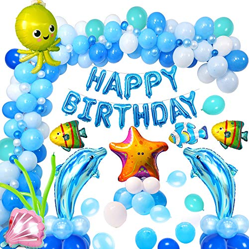 MMTX Globos de Fiesta Decoración Fiesta de cumpleaños del Tema mar Delfín Cáscara Estrella de mar Pulpo Pez Globo de Aluminio de Animales Marinos Birthday Bandera Globos Azules y Blancos