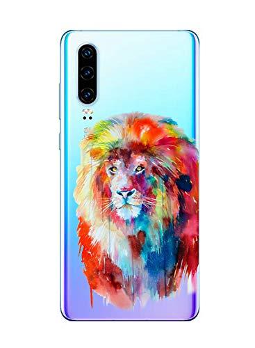 Oihxse Compatible con Huawei Mate 30 Pro Funda Suave Gel TPU Silicona Cristal Transparente Carcasa Acuarela Animal Pintado Patrón Protectora Estuche Bumper Caso Case (B8)
