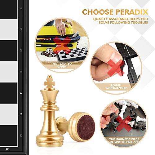 Peradix ajedrez magnetico Plegable,Juegos de Mesa Tablero de Ajedrez con Caja Set Ajedrez Ajedrez de Oro y Plata Juego De Tablero Juguetes Regalo para niños y Adultos (25cm*25cm)