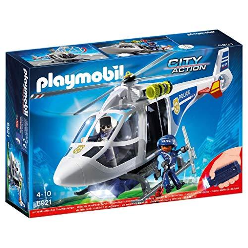 PLAYMOBIL City Action Helicóptero de Policía con Luces LED, a Partir de 4 Años (6921)