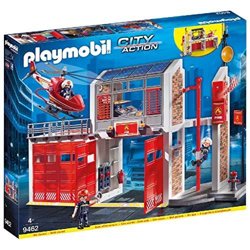 PLAYMOBIL City Action Parque de Bomberos con Efectos de Sonido, a Partir de 4 Años (9462)