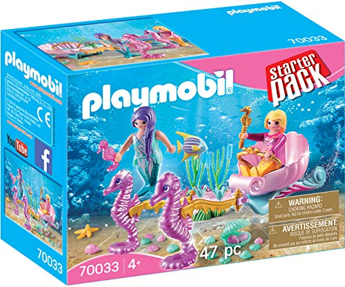 PLAYMOBIL- Starter Pack StarterPack Carruaje Caballitos de Mar, Color carbón (70033)
