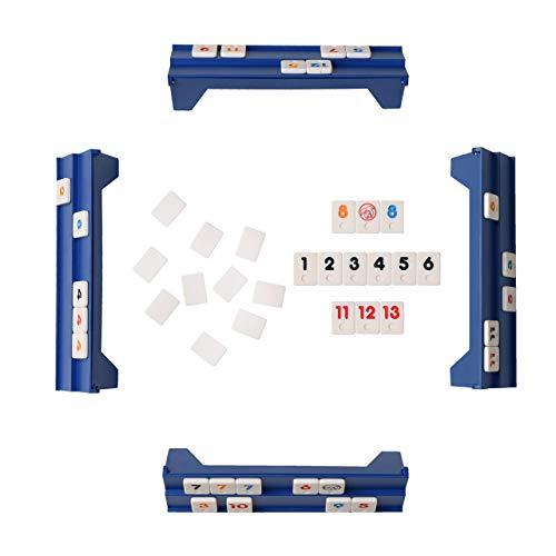 Point Games Mini Travel Rummy con 106 fichas y cuatro racks de juego exclusivos de 2 niveles en una bolsa de viaje súper duradera, color blue & white (2042) , color/modelo surtido