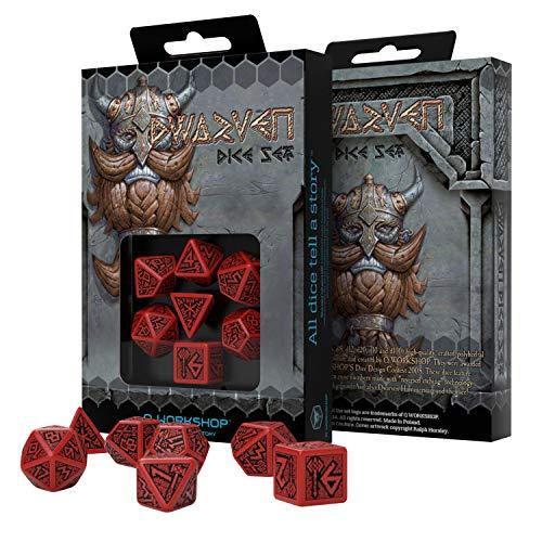 Q Workshop Dwarven Red & Black RPG Ornamented Dice Set 7 Polyhedral Pieces