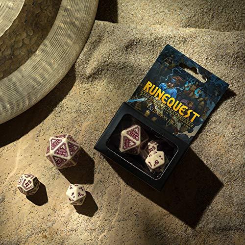 Q Workshop RuneQuest Beige & Burgundy RPG Dice Set 7 Polyhedral Pieces