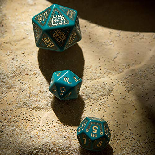 Q Workshop RuneQuest Turquoise & Gold Expansion RPG Dice Set