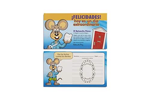 Ratoncito Pérez Puerta Mágica Rosa, Escalera, Felpudo, Llave, Postal de Felicitación, dibujo para anotar y pintar las fechas de los dientes caídos