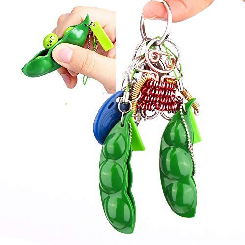 Rmeet Squishy Bean,3 Pack Porte-clé de Soja Squeeze-a-Bean para Niños Adluts Kawaii Squishy Fidget Toys para Reducir Ansiedad y Estrés