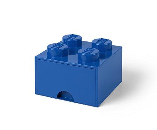 Room Copenhagen-Lego Ladrillo 4 pomos, 1 cajón, Caja de almacenaje apilable, 4,7l, Color 023-bright Blue, 12,5 x 12,5 x 18 cm 40051731