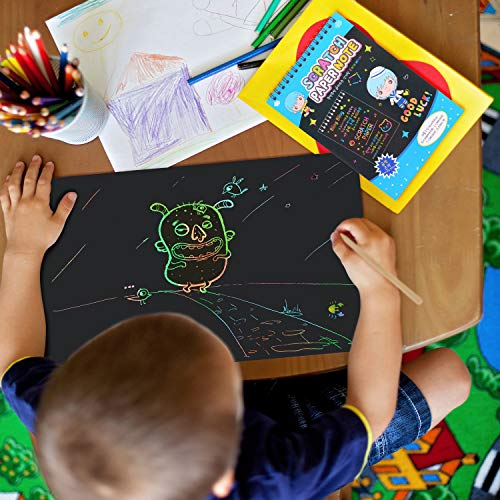 Scratch Art,JBSON 50 Hojas Dibujo Scratch Láminas para Rascar Creativas Papel para Dibujar con Niños, Manualidades, Escribir Listas, Incluye 4 Plantillas de Plantillas de Dibujo y 5 lápices de Madera