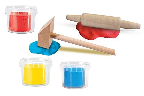 SES Creative-Mi Primera-Plastilina con Herramientas 3x90gr Arcilla, Color Azul, Rojo, Amarillo, 3 x 90 g (14432)