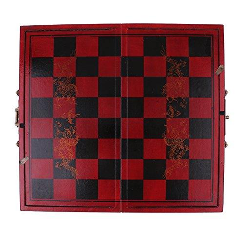 Sharplace Ajedrez Chino con Tablero de Madera Juegos de Mesa - 35.7 x 33 x 4.6 cm