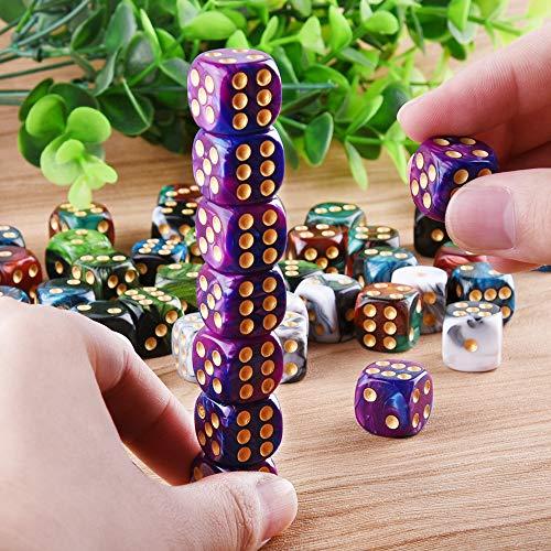 SIQUK 50 Piezas Dados Juego de 6 Caras con Pepitas de Oro Dados Redondos de Esquina (Bolsa Gratis) para Juegos como Tenzi, Farkle, Yahtzee, Bunco o Teaching Math