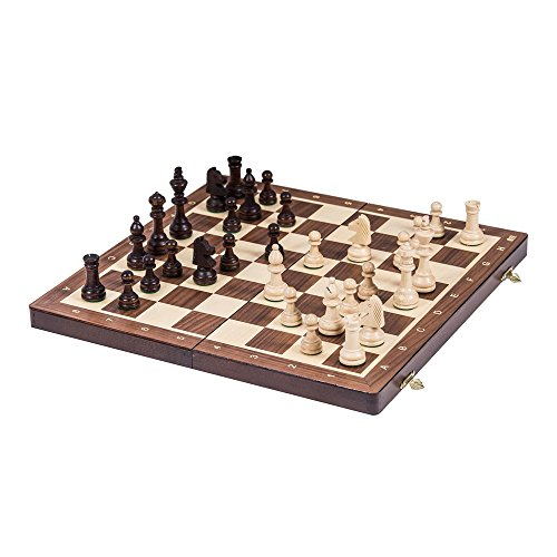 Square - Ajedrez de Madera Nº 4 - Nogal - Tablero de ajedrez + Staunton 4